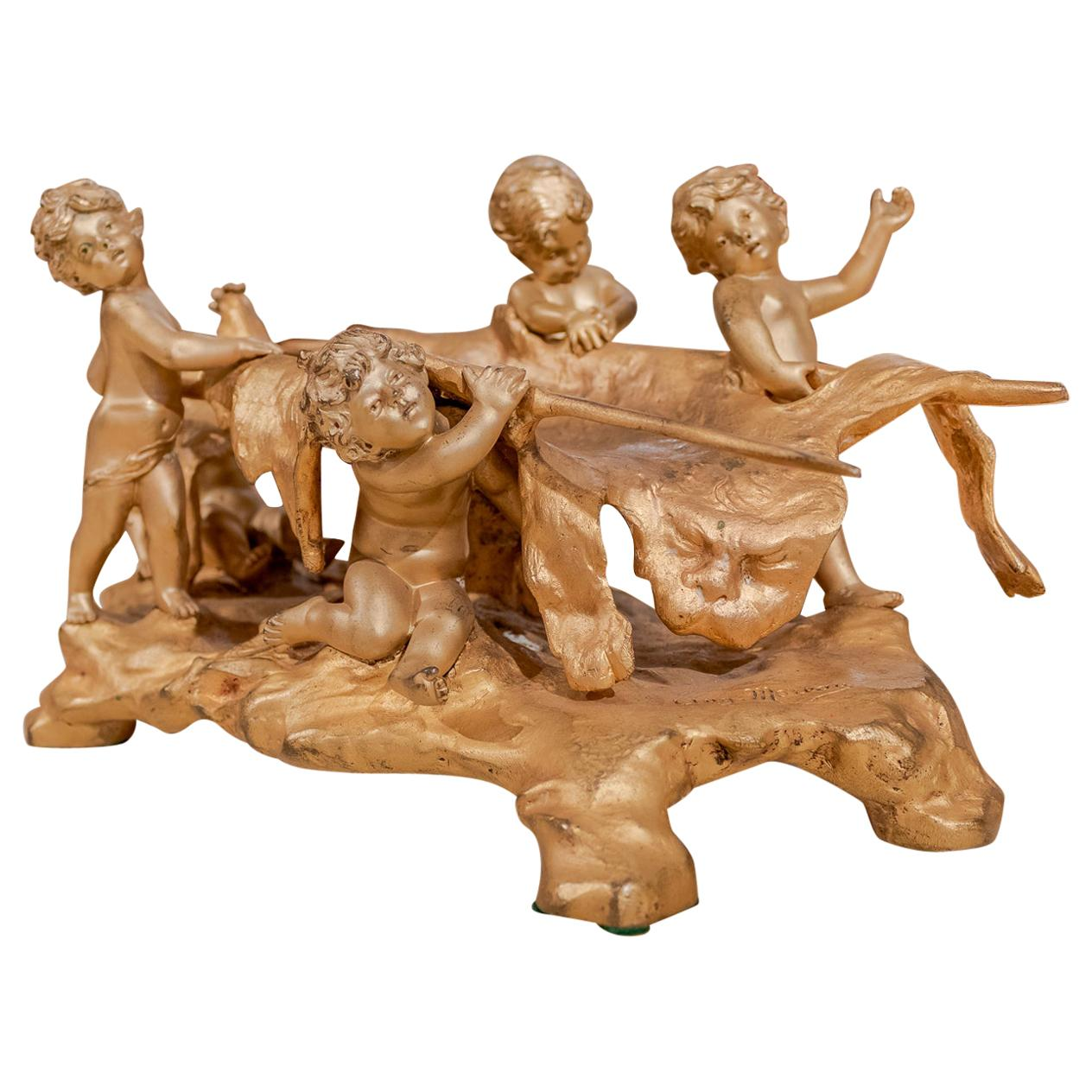 19th Century French Gilt Bronze of Hunting Cherubs with There Kill by Moreau
