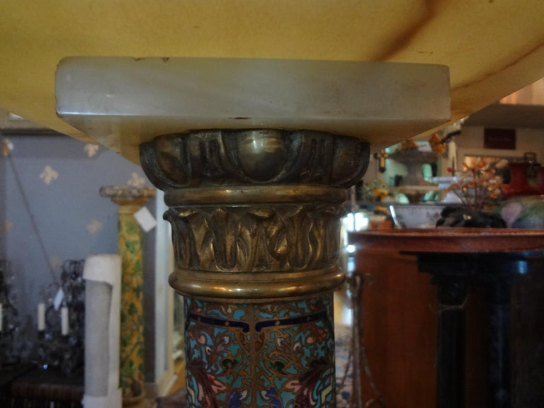 19th Century French Gilt Bronze Onyx and Champlevé Pedestal In Good Condition For Sale In Houston, TX