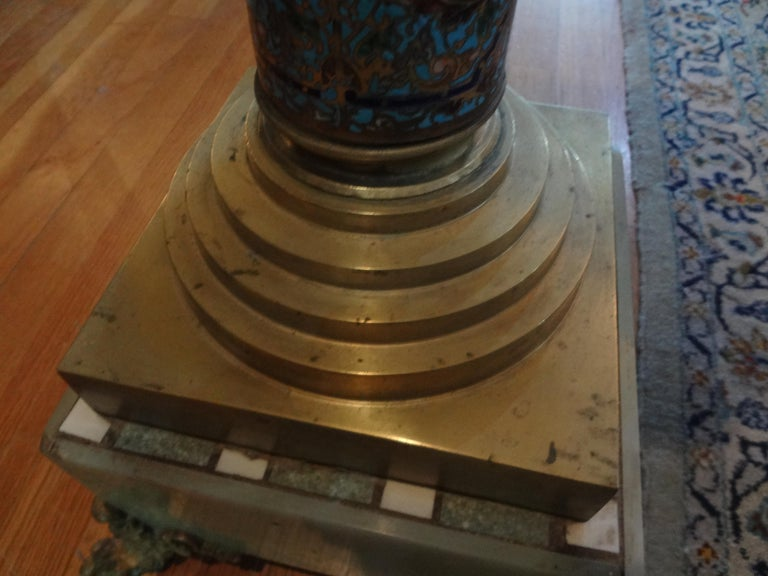 19th Century French Gilt Bronze Onyx and Champlevé Pedestal For Sale 1