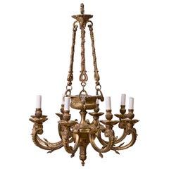19th Century French Gilt Bronze Regence-Style Eight-Light Chandelier
