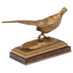 19th Century French Gilt Bronze Sculpture of a Pheasant