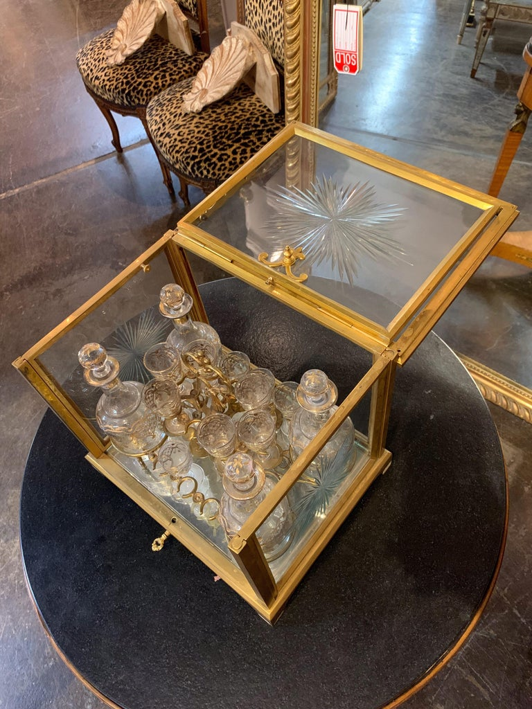 19th Century French Gilt Bronze Tantalus with Glasses and Bottles In Good Condition For Sale In Dallas, TX