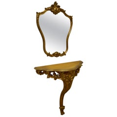 19th Century French Gilt Console or Hall Table and Matching Mirror Set
