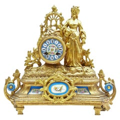 19th Century French Gilt Mantel Clock with Sèvres Plaques