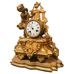 19th Century French Gilt Mantel Clock with Wood Base, Girl with Bird