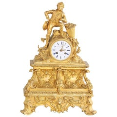 19th Century French Gilt Mantle Clock Signed 'Bourdin'