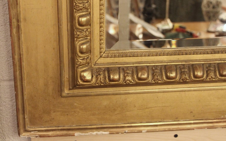 19th Century French Gilt Mirror with Cherub and Arched Detail For Sale 1