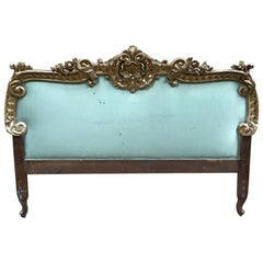 19th Century French Giltwood Head Bed with Original Fabric, 1890s