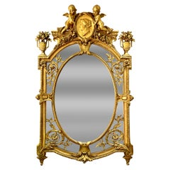 19th Century French Giltwood and Gesso Figural Mirror