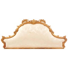 19th Century French Giltwood and Hand Carved Bedhead in Light Beige Upholstery