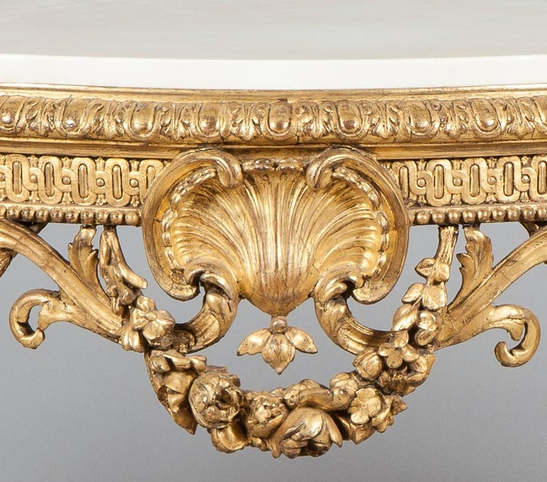 Louis XV 19th Century French Giltwood and White Marble Console Table For Sale