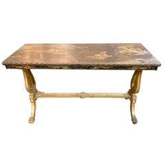 19th Century French Giltwood Console with Chinoiserie Top