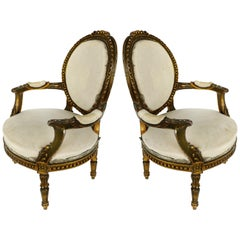 19th Century French Giltwood Fauteuil Armchairs, Pair
