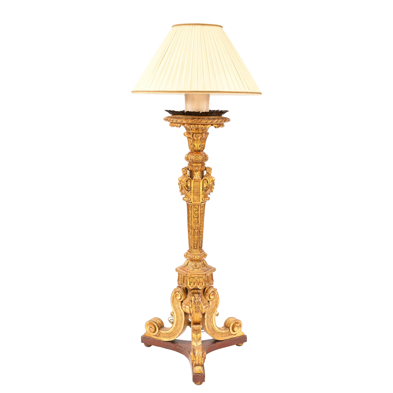 19th Century French Giltwood Floor Lamp