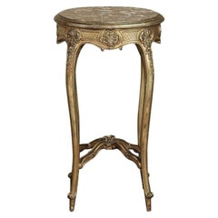 19th Century French Giltwood Marble Top Lamp Table