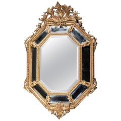 19th Century French Giltwood Octagonal Mirror in Louis XIV Style