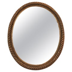 19th Century French Giltwood Oval Rope Twist Mirror