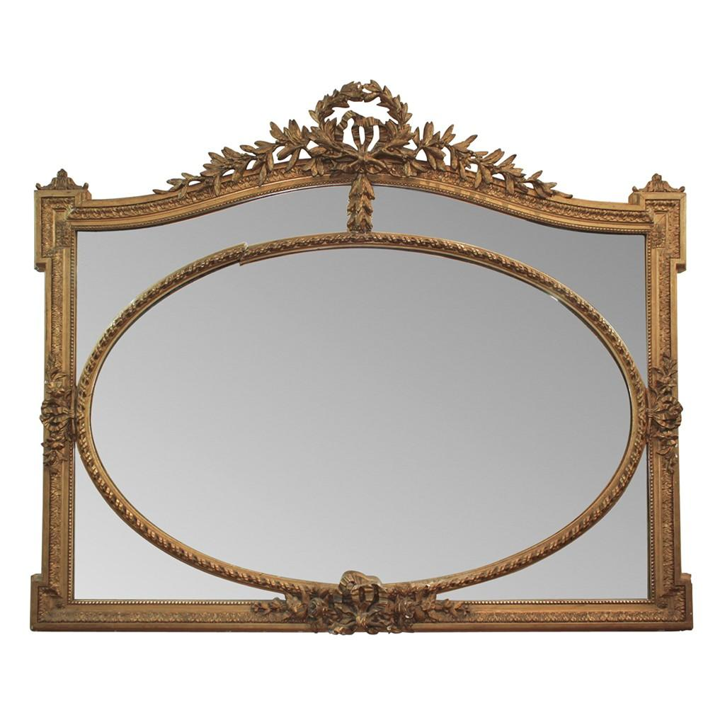 19th Century French Giltwood Over-Mantel Mirror