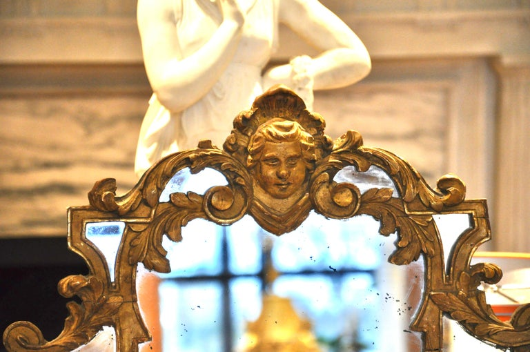 19th Century French Giltwood Regence Style Mirror For Sale 1