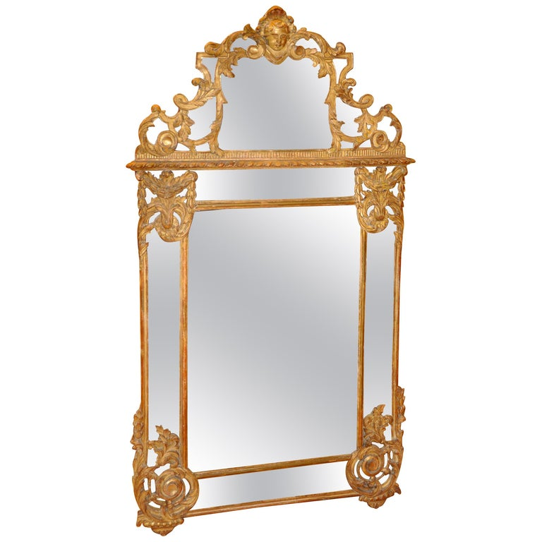 19th Century French Giltwood Regence Style Mirror For Sale