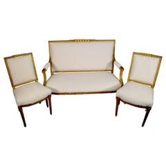19th Century French Giltwood Settee and Two Chairs