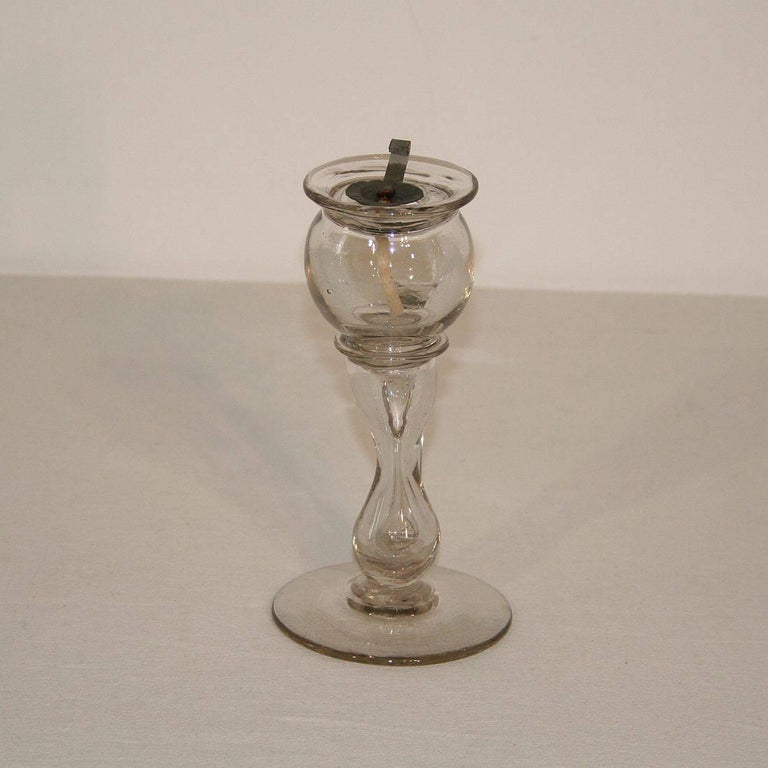 19th Century French Glass Weavers Oil Lamp For Sale 1