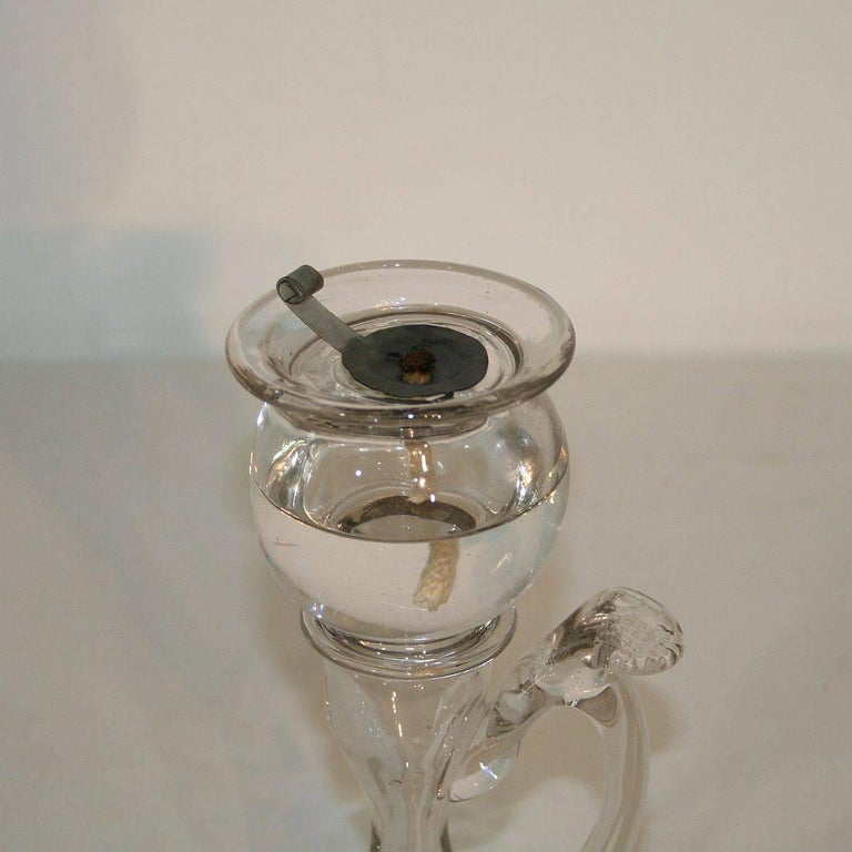 19th Century French Glass Weavers Oil Lamp For Sale 2