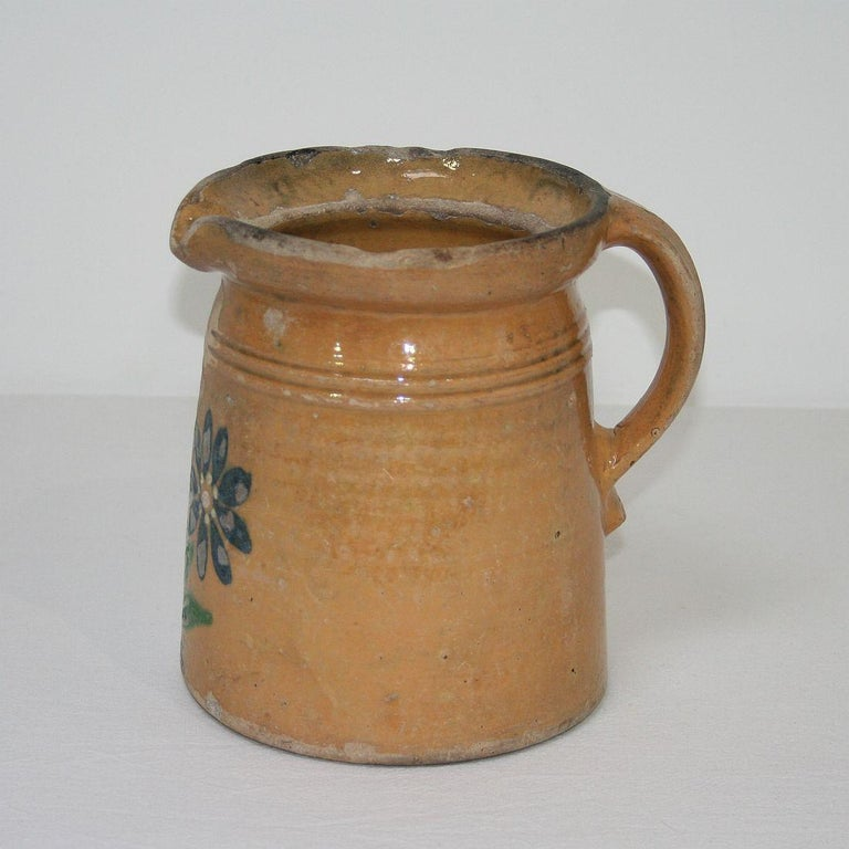 19th Century French Glazed Earthenware Alsace Jug For Sale 1