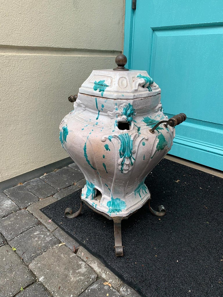 19th Century French Glazed Porcelain Brazier with Lid and Stand In Good Condition For Sale In Atlanta, GA