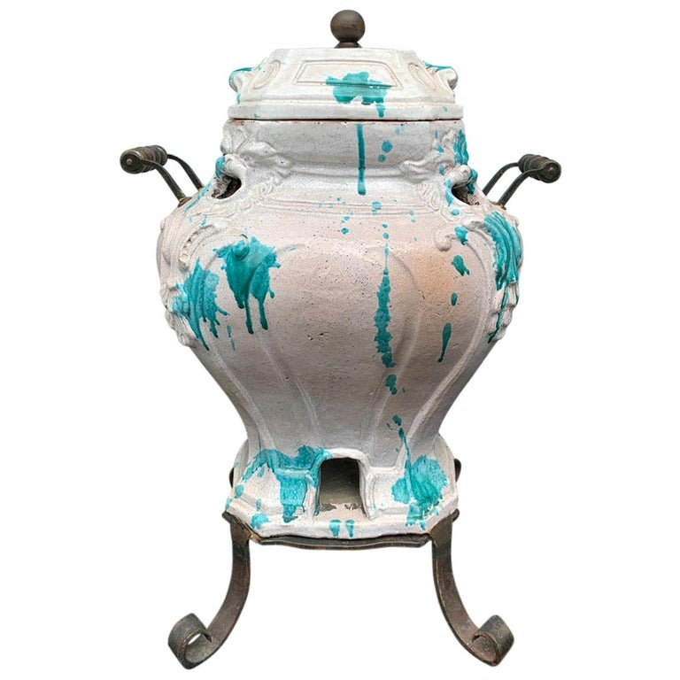 19th Century French Glazed Porcelain Brazier with Lid and Stand For Sale