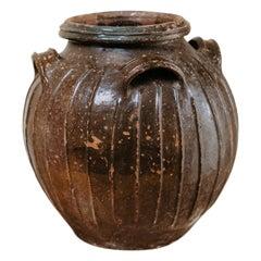 19th Century French Glazed Terra Cotta Extra Large Urn
