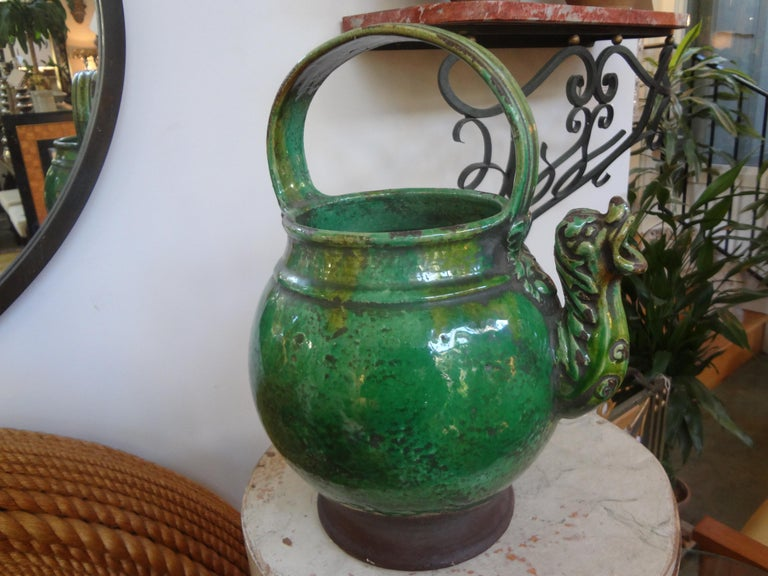 19th Century French Glazed Terracotta Vessel or Pitcher For Sale 4