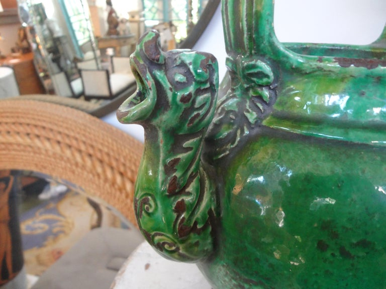 French Provincial 19th Century French Glazed Terracotta Vessel or Pitcher For Sale