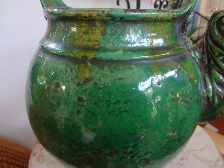 Earthenware 19th Century French Glazed Terracotta Vessel or Pitcher For Sale
