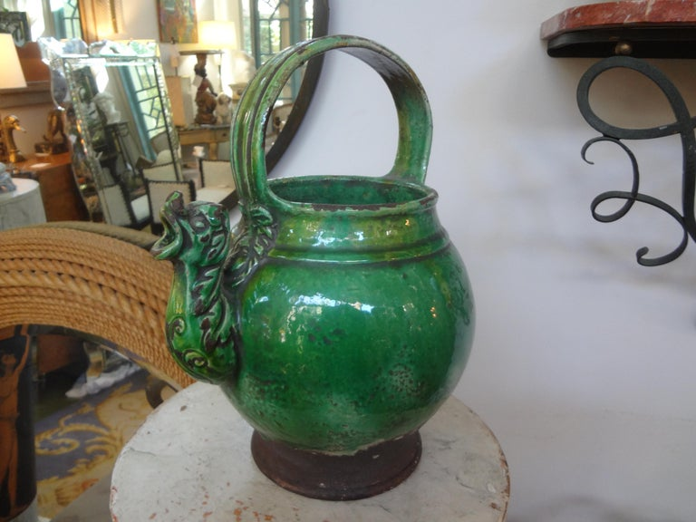 19th Century French Glazed Terracotta Vessel or Pitcher For Sale 3