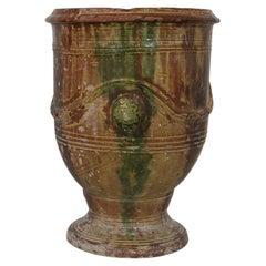 19th Century French Glazed Terracotta Anduze Vase, Planter