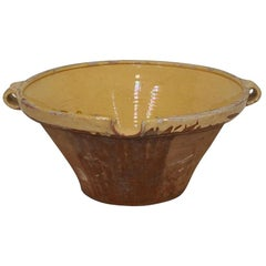 19th Century French Glazed Terracotta Dairy Bowl or Tian
