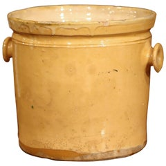 19th Century French Glazed Terracotta Kitchen Utensils Pot