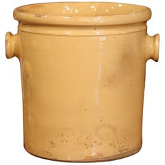 19th Century French Glazed Terracotta Kitchen Utensils Pot