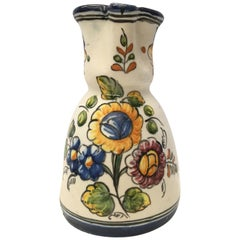 19th Century French Glazed Terracotta Pitcher Handmade & Hand-painted