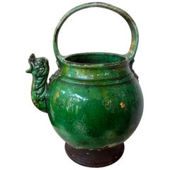 19th Century French Glazed Terracotta Vessel or Pitcher