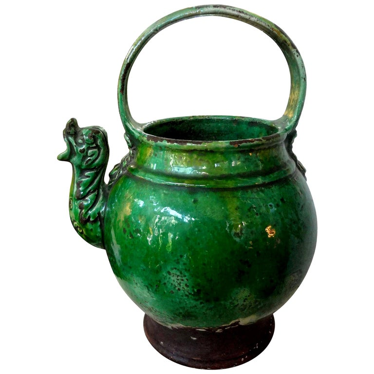 19th Century French Glazed Terracotta Vessel or Pitcher For Sale