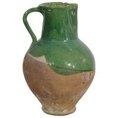 19th Century, French Glazed Terracotta Water Jug