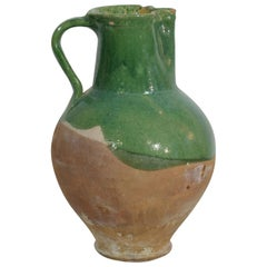19th Century, French Glazed Terracotta Water Jug