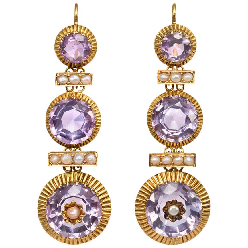 19th Century French Gold, Amethyst and Pearl Pendant Earrings
