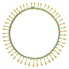 19th Century French Gold and Turquoise Fringe Necklace