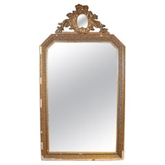19th Century French Gold Gilt Classical Wall Mirror with Oval Mirror Atop