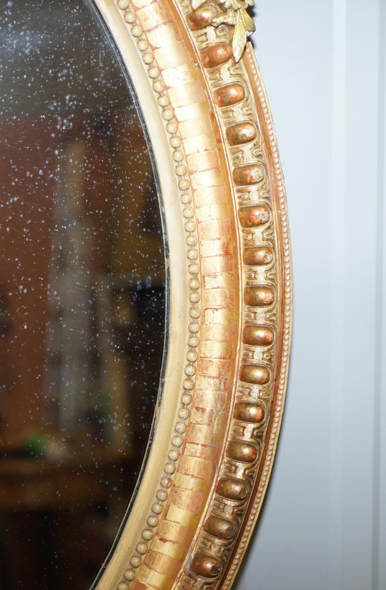 19th Century French Gold Giltwood Mirror, Gesso Carving Floral Ribbon & Shell For Sale 5