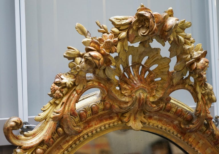 19th Century French Gold Giltwood Mirror, Gesso Carving Floral Ribbon & Shell In Good Condition For Sale In London, GB
