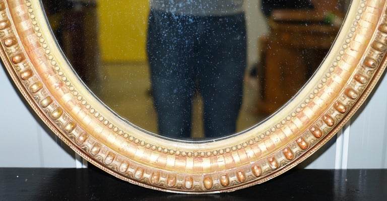 19th Century French Gold Giltwood Mirror, Gesso Carving Floral Ribbon & Shell For Sale 3